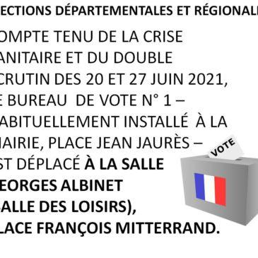 Changement de lieu pour le bureau de vote N° 1